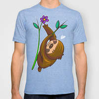Sloth And Flower T-shirt by Artistic Dyslexia