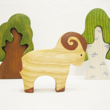 Sheep toy Farm Animal Wood toy Nature table set Miniature animal figurines Waldorf Montessori Handmade Toys for toddlers Birthday Gift