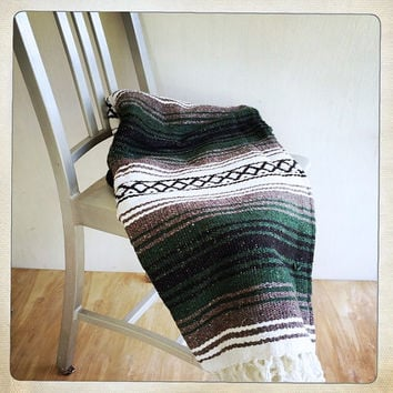 vintage Mexican blanket boho throw black green gray white