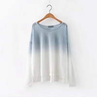 The new autumn and winter women's bamboo cotton long-sleeved T-shirt gradient