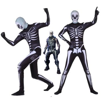 Adult Kids Hot Game Cosplay Costume Skull Trooper Human Zentai Bodysuit Suit Jumpsuits Scary Skeleton Halloween Costume