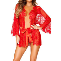 Sexy Women Nightwear Sleepshirts Lace Crochet Outwear Tops Fashion