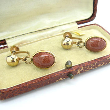 Goldstone Earrings. Venetian Copper Glass Oval Dangles. NR Avon. Gold Tone Screw Backs. Vintage 1990s Fall Fashion Jewelry