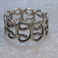 """Sterling Silver Wide Scrolled Ring, Size 10.5, 4.53 grams, 1/2"""" wide, Post mid-century"""