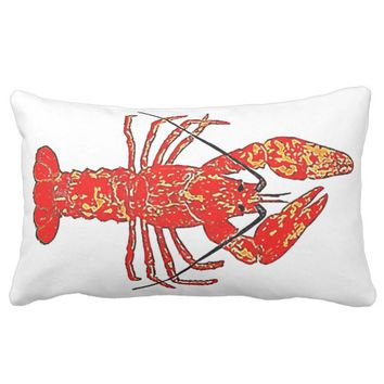Lobster Watercolor Lumbar Pillow