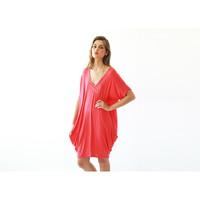 Oversize tunic , Coral tunic , Short sleeves dress , Summer mini dress