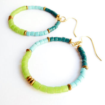 Blue and Green, Eco Friendly Recycled Glass Beaded Hoop Earrings, African Glass and Brass Jewelry