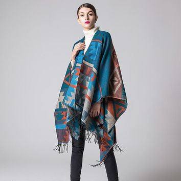 Ruicestai Ponchos and Shawl Knit Cashmere Scarf