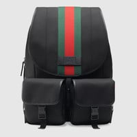 Gucci Web band canvas backpack