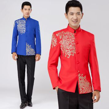 red Tunic Traditional Stand Collar Suits Costume Male Embroidery Dragon Totem Suit Chinese wedding dress Ancient Costume tunic