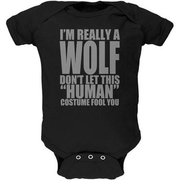 LMFCY8 Halloween Human Wolf Costume Black Soft Baby One Piece