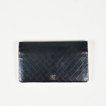 Chanel Navy Blue White Quilted Calfskin Leather 'CC' Front Flap Wallet