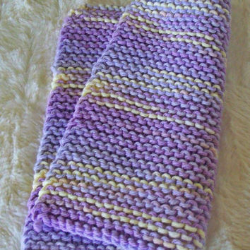 Hand crafted knit dish cloth-Purple and Yellow
