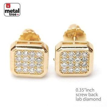 Jewelry Kay style Men's Iced Out Brass 14k Gold Plated Square Flat Block Screw Back Earrings 914G