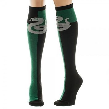 Harry Potter Slytherin Green/Black Juniors Knee High Socks