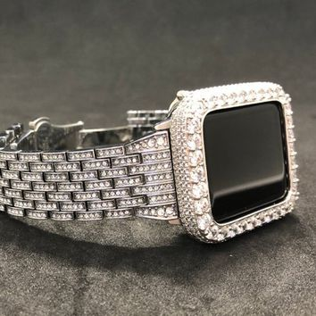 Rhinestone Crystal Watch Band 38mm 42mm Series 1 2 3 Women's Mens Silver Stainless Ice Out 2mm Lab Diamond Case Cover Bezel Iwatch Bling