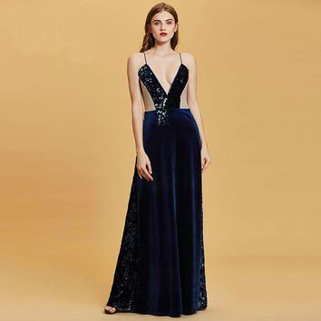 Spaghetti straps evening dresses sleeveless sequins floor length a line gown women party evening dress