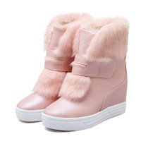 warm faux fur waterproof snow boots women winter fashion ladies ankle boots big size  white beige pink color dropshipping