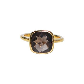 Small Square Gold Bezel Ring