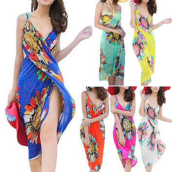 Newest Women Magic Sexy Beach Cover Up Floral Sunflower Chiffon Beach Dress Bathing Suit Bikini Swimwear Swimsuit Cover Up