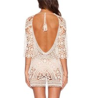 DCCKUH3 2017 Lace Crochet Beach Cover up Women Sexy Backless Bikini Coverup Robe De Plage Crochet Bikini Tunic Vacation Suncreen Wear