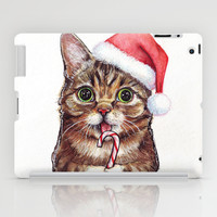 Cute Cat Lil Bub in Santa Hat, Holidays iPad Case by Olechka