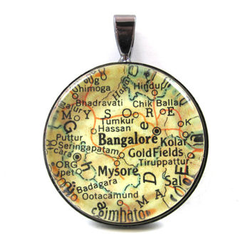 Vintage Map Pendant of Bangalore, India, in Glass Tile Circle