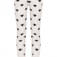 Boutique 1 - KENZO - White Eye Print Skinny Jean | Boutique1.com