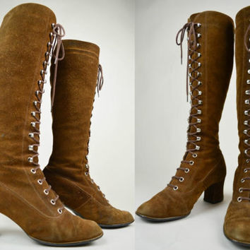 60s Brown Suede Lace Up Knee High Mod Go Go Boots UK 5 / US 7.5 / EU 38