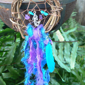 mermaid dreamcatcher  mermaid siren turquoise amethyst sari grapevine boho hipster hippie gypsy beach native american inspired style