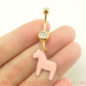 BellyButton Rings,horse Navel Jewlery,little horse belly ring,friendship jewelry,gold bellybutton jewelry,oceantime