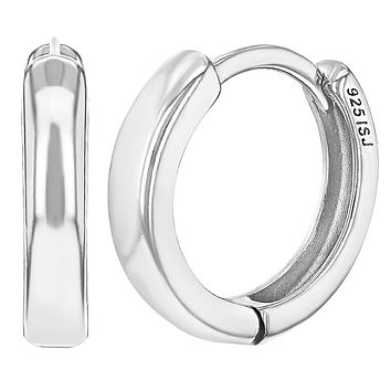 925 Sterling Silver Classic Small Hoop Huggie Earrings for Girls Teens 0.39""