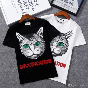 vetements Printing cat High quality cotton T-shirts kanye west justin bieber pablo men and women t-shirt