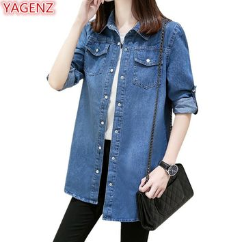YAGENZ Casual Jeans Jacket Women Jacket Top 2018 Spring and autumn Clothes Ladies Jackets Coats And Jackets Women Thin Coats 357