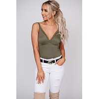Hold You Close Lace Trim Tank Top (Olive)