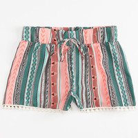 FULL TILT Ethnic Stripe Crochet Trim Girls Shorts | Shorts