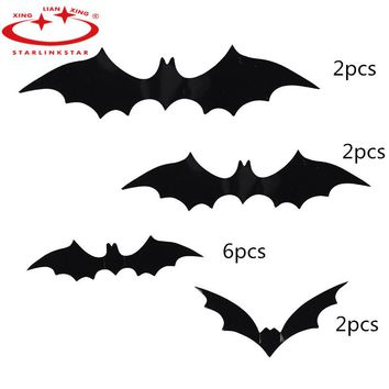 12Pcs/Pack 2018 Halloween Decoration DIY PVC Black Bat Wall Sticker Atmosphere All Saints' Day Decorative Supplies