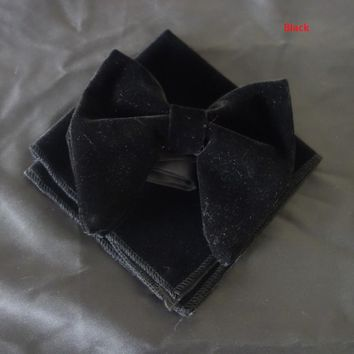 Black Velvet Bowties with Matching hankie  Mens Unique Tuxedo Velvet Bowtie Bow Tie  Hankie Set Necktie Set