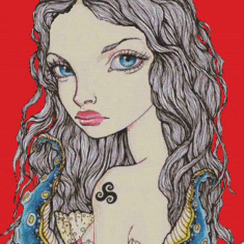 Modern and Contemporary Art Cross Stitch Kit By Tanya Bond 'Luxuria' - Seven Deadly Sins Needlecraft Counted CrossStitch
