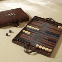 Saddle Leather Travel Backgammon Set