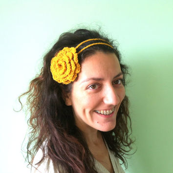 Mustard Yellow Flower Headband, Shabby Chic Crochet Hair Bow, Teen Girls Bandana, Winter Hair Decor, Hand Crochet Fall Headband