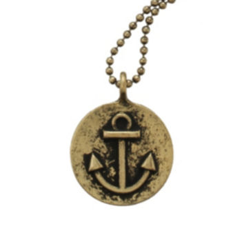 Burnished Gold Anchor Necklace