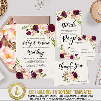 Printable Boho Floral Wedding Invitation Template Editable Marsala Wedding Invitation Set Burgundy Wedding Template Edit with TEMPLETT