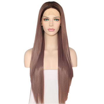 Virgo - Dusty Rose Ombre Synthetic Front Lace Wig