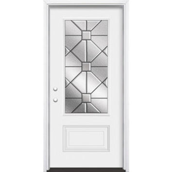 Shop Masonite Hancock 1-Panel Insulating Core 3/4 Lite Right-Hand Inswing Steel Primed Prehung Entry Door (Common: 36-in x 80-in; Actual: 37.5-in x 81.5-in) at Lowes.com