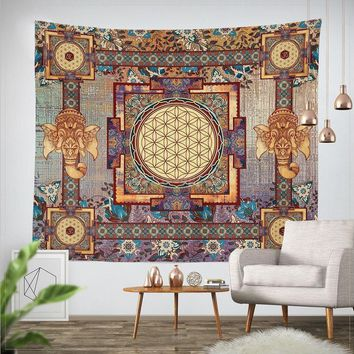 Indian Mandala Tapestry 203x153cm Cotton Belgium Hippie Wall Hanging Elephant Tapestries Boho Bedspread Beach Towels Table Cloth