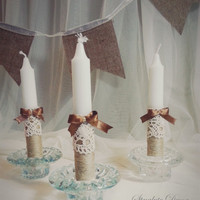 Handmade Rustic Unity White Candle Set Fabric Flower and Brown fabric Ribbon