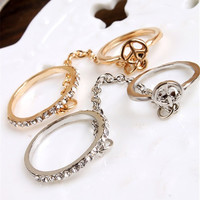Women Girl's rhinestone peace chain link Middle finger rings jewelry gifts S Women Rings SM6