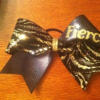 "3"", 3 inch All Star Cheer Bow BLING and sequins FIERCE gold and black zebra"