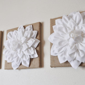 "Burlap -SET OF THREE White Dahlias on Burlap 12 x12"" Canvas Wall Art- Home Decor"